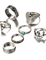 Men's Women's Rings Set Turquoise Acrylic Geometric Fashion Vintage Bohemian Punk Simple Style Elegant Turquoise Alloy Triangle Shape Moon