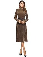 Damen A-Linie Swing Kleid-Ausgehen Lässig/Alltäglich Einfach Solide Ständer Midi Langarm Polyester Herbst Winter Mittlere Hüfthöhe