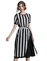 Linea A Fodero Chiffon Vestito Da donna-Per uscire Casual Semplice Moda città A strisce Rotonda Medio Manica corta Cotone Estate Autunno