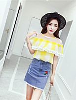 Women's Casual/Daily Simple Summer Blouse Skirt Suits,Solid Round Neck Half Sleeves