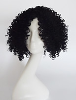 Women Synthetic Wig Capless Short Wavy Jheri Curl Black With Bangs Party Wig Halloween Wig Natural Wigs Costume Wig