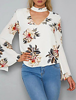 Women's Going out Club Sexy Vintage Boho Spring Fall T-shirt,Floral V Neck Long Sleeves Polyester Medium