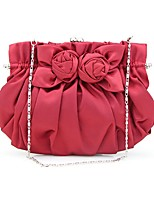 Women Bags All Seasons Silk Clutch Ruffles for Wedding Event/Party Wine