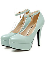 Women's Shoes PU Spring Fall Comfort Novelty Heels Stiletto Heel Round Toe Buckle For Office & Career Dress Blushing Pink Blue Black White
