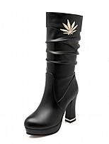 Damen Schuhe Kunstleder Herbst Winter Komfort Neuheit Modische Stiefel Stiefel Blockabsatz Runde Zehe Mittelhohe Stiefel Tupfen Für Normal