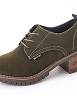 Women's Shoes Suede Fall Comfort Boots Block Heel Round Toe Lace-up For Casual Army Green Black