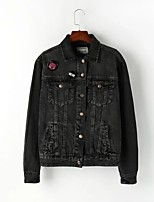 Women's Going out Casual/Daily Simple Spring Fall Denim Jacket,Solid Print Shirt Collar Long Sleeve Regular Others