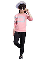 Girls' Solid Geometric Sets,Cotton Spring Fall Long Sleeve Clothing Set
