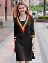 YHSP Women's Going out Casual/Daily Simple Street chic Sophisticated A Line Sheath Sweater Dress,Color Block V Neck Above Knee 3/4 Length