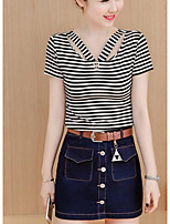 Women's Going out Casual/Daily Street chic Summer T-shirt Skirt Suits,Striped U Neck Short Sleeve Micro-elastic