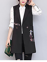 Women's Casual/Daily Sexy Spring Fall Vest,Print Notch Lapel Sleeveless Long Polyester