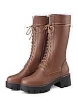 Women's Shoes PU Fall Winter Comfort Novelty Fashion Boots Boots Chunky Heel Round Toe Mid-Calf Boots Zipper Lace-up For Office & Career
