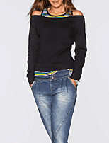 Women's Casual/Daily Sexy Spring Fall T-shirt,Color Block Round Neck Long Sleeves Cotton Medium