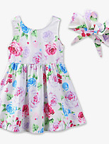 Girl's Casual/Daily Floral Galaxy Dress,Cotton Polyester Summer Sleeveless