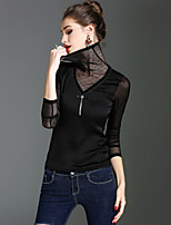Tee-shirt Femme,Couleur Pleine Vacances Sortie Vintage Chic de Rue Sophistiqué Printemps Automne Manches Longues Col Roulé Polyester Moyen