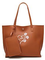 Women Bags All Seasons PU Bag Set Pattern / Print for Shopping Casual Black Brown Wine