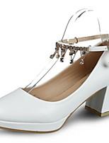 Da donna Scarpe PU (Poliuretano) Autunno Inverno Comoda Tacchi Heel di blocco Appuntite Brillantini Fibbia Per Casual Formale Bianco Nero