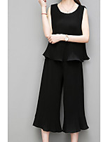 Women's Going out Casual/Daily Street chic Summer T-shirt Pant Suits,Solid Round Neck Sleeveless