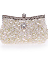 Women Bags All Seasons Polyester Evening Bag Crystal Detailing Pearl Detailing for Wedding Event/Party Champagne White Black