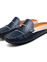 Unisex Shoes Cowhide Summer Light Soles Slippers & Flip-Flops Flat Heel Round Toe For Casual Dark Blue Black White