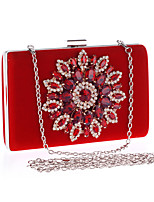 Women Bags All Seasons Polyester Evening Bag Crystal Detailing Flower(s) for Wedding Event/Party Black Red