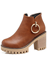 Women's Shoes Leatherette Fall Winter Fashion Boots Bootie Boots Chunky Heel Round Toe Booties/Ankle Boots Buckle Zipper For Casual Dress