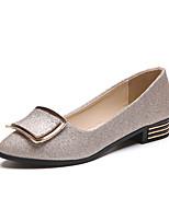Femme Chaussures Polyuréthane Printemps Eté Semelles Légères Confort Chaussures à Talons Talon Plat Bout rond Pour Habillé Or Noir Argent