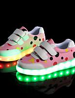Boys' Flats Light Up Shoes Comfort Novelty Fall Winter PU Casual Outdoor Magic Tape Flat Heel Blushing Pink Blue Gray Flat