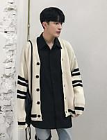 Men's Holiday Regular Cardigan,Color Block Round Neck Long Sleeves Others Spring Fall Medium Micro-elastic