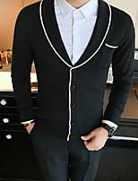 Men's Casual/Daily Regular Cardigan,Solid V Neck Long Sleeves Others Fall Winter Medium Micro-elastic
