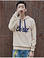 Men's Casual/Daily Hoodie Solid Letter Hooded Micro-elastic Polyester Long Sleeve Fall