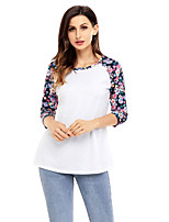 Women's Going out Casual/Daily Cute Fall T-shirt,Print Round Neck 3/4 Length Sleeves Polyester Spandex Medium