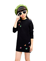 Girl's Birthday Casual/Daily Going out Solid Floral Dress,Cotton Rayon Spring Fall Long Sleeve