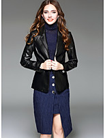 Women's Going out Simple Winter Leather Jacket,Solid Shirt Collar Long Sleeve Regular Wool