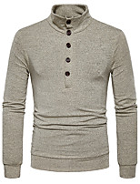 Men's Casual/Daily Simple Regular Pullover,Solid Stand Long Sleeves Cotton Fall Winter Medium Stretchy