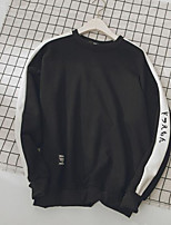 Men's Casual/Daily Sweatshirt Color Block Letter Round Neck Micro-elastic Polyester Long Sleeve Fall