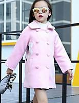 Девочки Куртка / пальто Хлопок Искусственный шёлк Однотонный Пэчворк Осень Зима Длинный рукав
