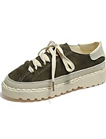 Women's Shoes Cashmere Summer Comfort Sneakers Flat Heel Round Toe Lace-up For Casual Green Brown Black