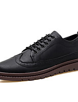 Men's Shoes PVC Leather Fall Winter Comfort Oxfords Lace-up For Wedding Office & Career Dark Brown Yellow Black