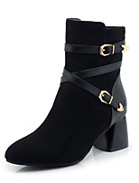 Women's Shoes Leatherette Fall Winter Fashion Boots Boots Chunky Heel Closed Toe Booties/Ankle Boots Buckle Zipper For Casual Dress Black