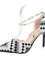 Для женщин Обувь Полиуретан Лето Удобная обувь Обувь на каблуках На шпильке Заостренный носок В клетку Назначение Повседневные Черный