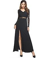 SUOQI Women's Party Going out Sexy Sheath Swing DressSolid Patchwork V Neck Maxi Long Sleeves Polyester Fall Mid Rise Micro-elastic Medium