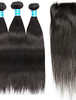 Human Hair Brazilian Hair Weft with Closure Straight Hair Extensions Four-piece Suit Black