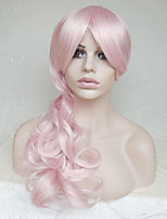 Women Synthetic Wig Capless Long Wavy Deep Wave Pink With Bangs Party Wig Halloween Wig Natural Wigs Costume Wig