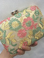 Women Bags All Seasons leatherette Evening Bag Embroidery Lace for Wedding Event/Party Gold