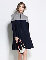 Trapèze Robe Femme Sortie Décontracté / Quotidien simple,Couleur Pleine Mao Au dessus du genou Manches Longues Polyester Spandex Automne