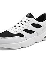 Men's Shoes PU Tulle Fall Winter Comfort Sneakers Lace-up For Casual Black/White Black White