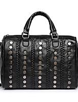 Women Bags All Seasons Sheepskin Shoulder Bag Beading Zipper for Casual Black