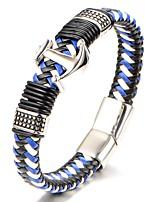 Homens Para Meninos Bracelete Pulseiras de couro Jóias Moda Clássico Aço Titânio Forma Geométrica Jóias Para Diário