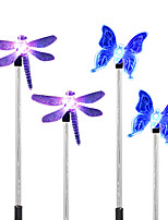 4PCS  Solar White/Color-Changing Dragonfly Butterfly Garden Stake Light Pathway Walkway Lamp